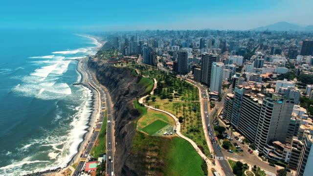 Panorama Blick auf Stadt Miraflores in Lima, Peru.
