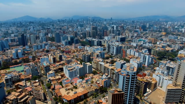 panoramic aerial view of miraflores town in lima, peru. - lima stock videos & royalty-free footage