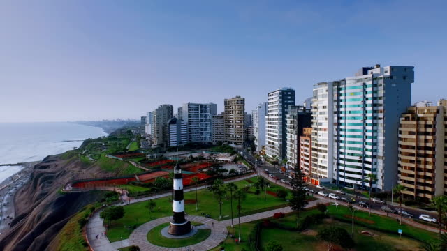 panoramic aerial view of miraflores town in lima, peru. - south america stock videos & royalty-free footage