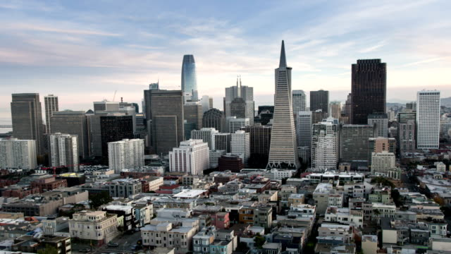 Panoramic Aerial View of San Francisco New Emerging Downtown Skyline. Zoom out.