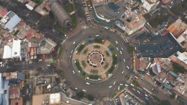panoramic aerial view of san isidro district (ovalo gutierrez) in lima, peru. - lima stock videos & royalty-free footage