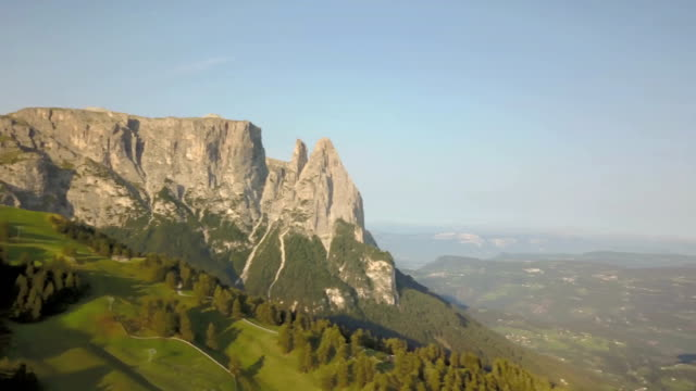 Panoramic aerial view of Sciliar and Sassopiatto mountains - Seiser Alm - Dolomites