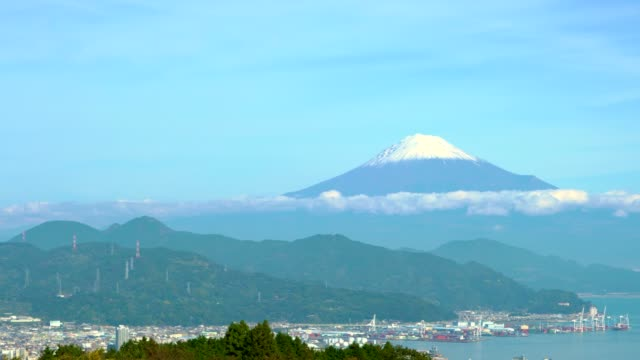 panoramic aerial view of shimizu sea port and mountain fuji from shizuoka prefecture - shizuoka prefecture stock videos and b-roll footage