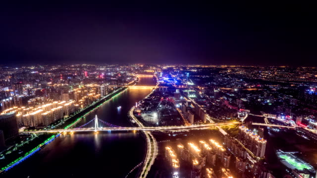 Panoramic aerial view of skyline,buildings and traffics at night in Guangzhou,time lapse.