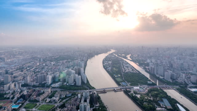 Panoramic aerial view of skyline,buildings and traffics in Guangzhou,time lapse.