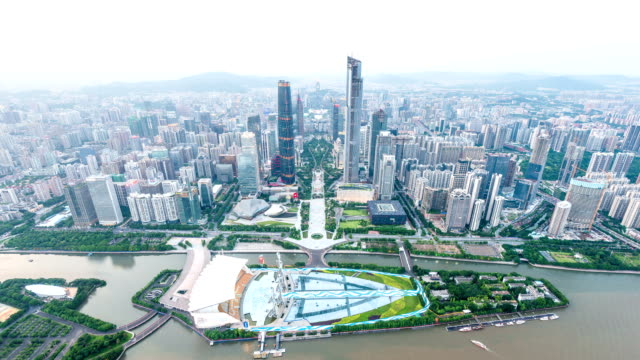 Panoramic aerial view of skyline,buildings day to night in Guangzhou,time lapse.