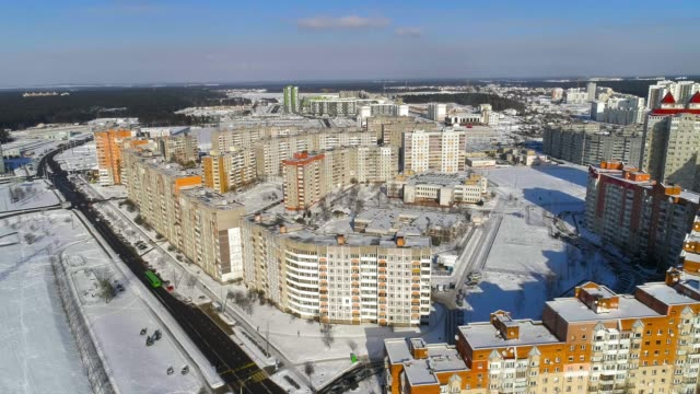 panoramic aerial view of the modern residential district in the big city - belarus stock videos & royalty-free footage