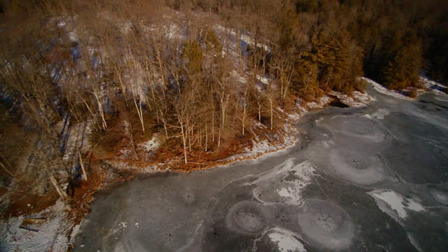 Panoramic aerial view of the winter's frozen lake, fields and forest in Poconos, Pennsylvania, USA