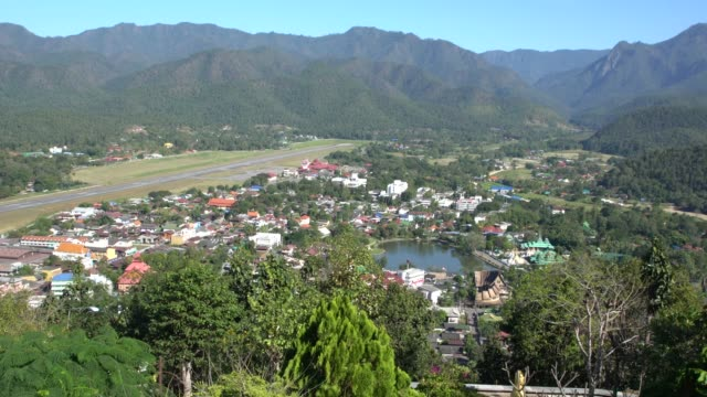panoramic areal view of the town mae hong son, northern thailand - mae hong son province stock videos and b-roll footage