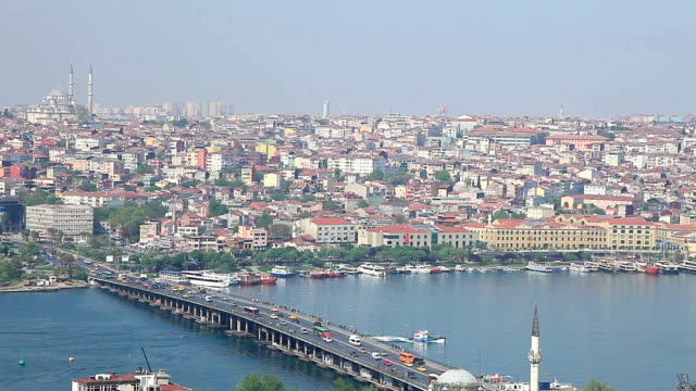 hd: panoramic istanbul scene - yeni cami mosque stock videos & royalty-free footage