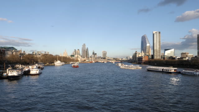 panoramic london cityscape and thames river - passenger ship stock videos & royalty-free footage