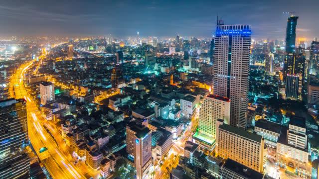 Panoramic night timelapse of Bangkok city downtown, Thailand