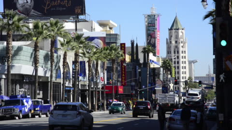panoramic of hollywood boulevard - sunset boulevard los angeles stock videos & royalty-free footage