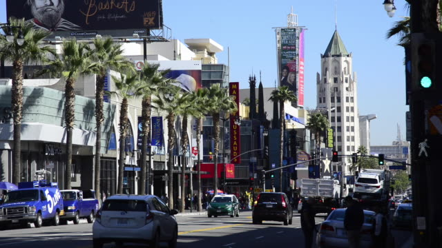 panoramic of hollywood boulevard - boulevard stock videos & royalty-free footage