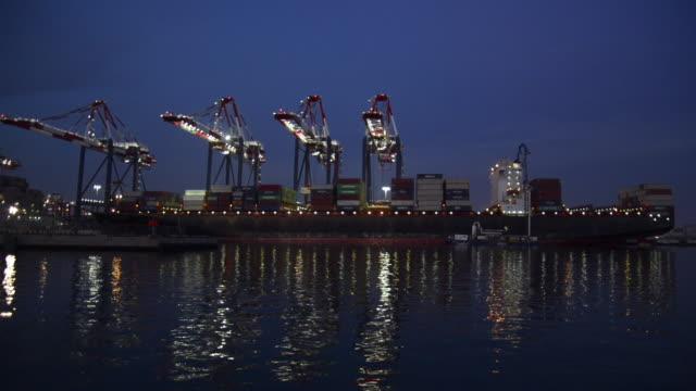 Panoramic of the Port of Long Beach, California, at dusk.