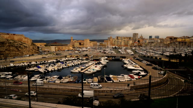 panoramic panoramic view at sunset in marseille, france - notre dame de la garde marseille stock videos and b-roll footage