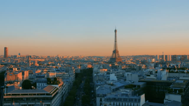 Panoramic roofs of Paris during a beautiful sunset.