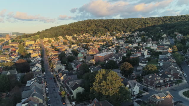 panoramic scenic view of bethlehem, pennsylvania, at sunset. aerial drone video with the panoramic camera motion. - religious cross stock videos & royalty-free footage