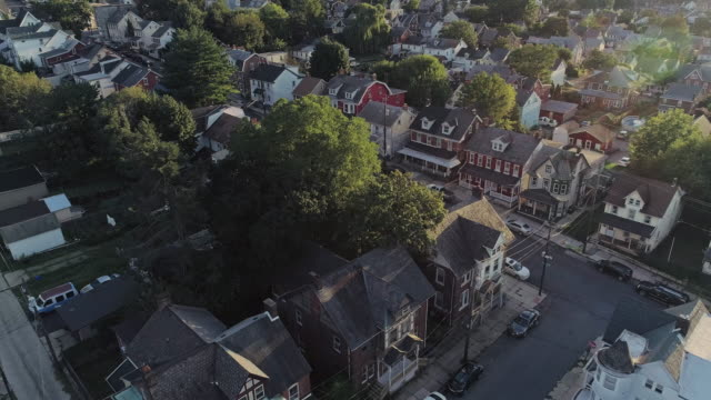 panoramic scenic view of bethlehem, pennsylvania, at sunset. aerial drone video with the forward camera motion. - temple building stock videos & royalty-free footage