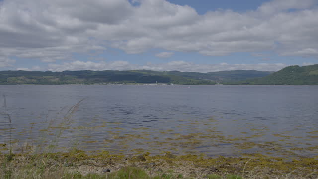 panoramic shot of loch fyne - riverbank stock videos & royalty-free footage