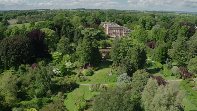 panoramic shot of newby hall and gardens - pond stock videos & royalty-free footage