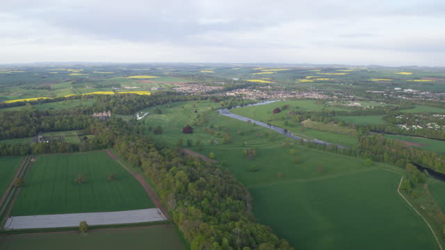 panoramic shot of the river tweed and kelso - crucifers stock videos & royalty-free footage