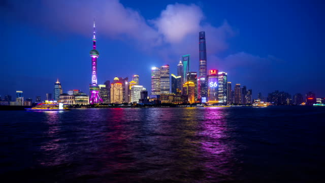 panoramic skyline of shanghai timelapse - saturated color stock videos and b-roll footage