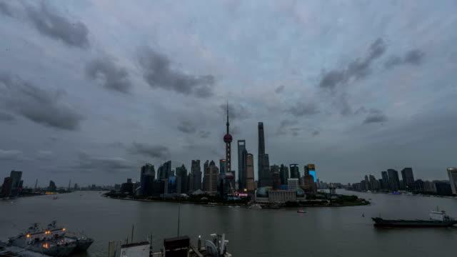 Panoramic skyline of Shanghai timelapse