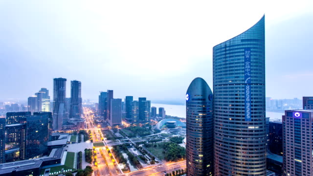 panoramic skyline,buildings and traffics in modern city dawn to day, time lapse. - dawn to day stock videos & royalty-free footage