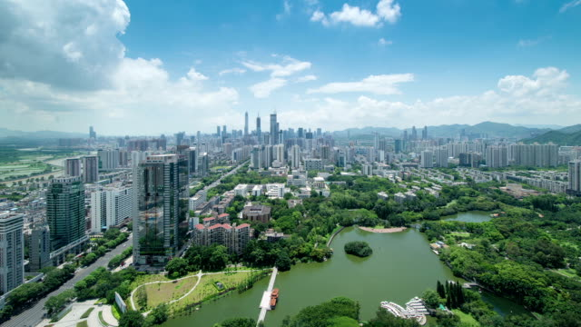stockvideo's en b-roll-footage met panoramic skyline,buildings and traffics in shenzhen, time lapse. - groothoek