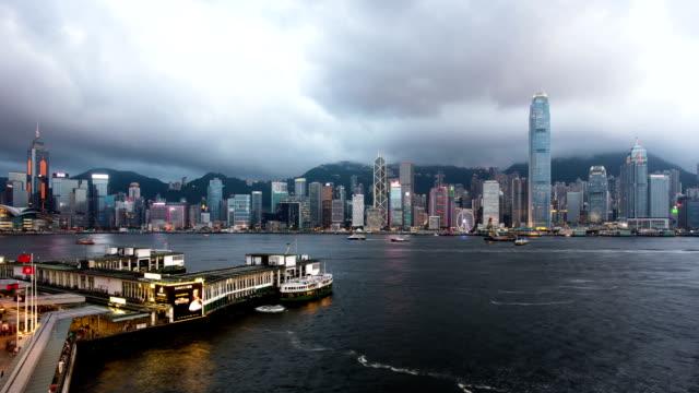 Panoramic skyline,illuminated modern buildings of hong kong.time lapse.