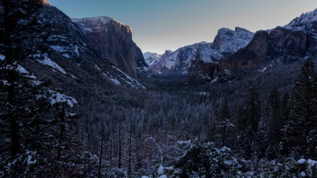 panoramic sunrise winter landscape in yosemite valley - yosemite national park video stock e b–roll