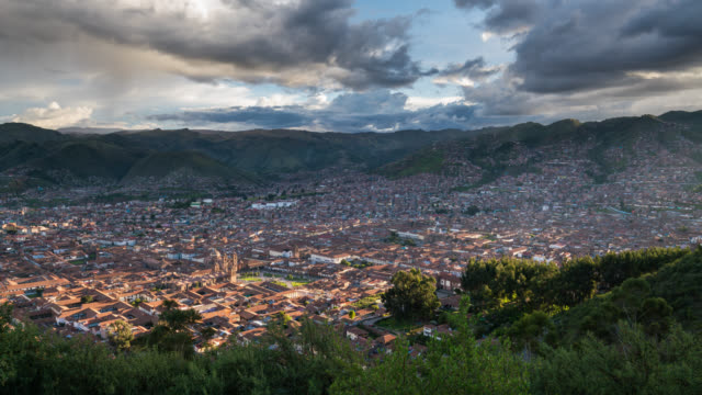 Panoramic Timelapse of Cusco during sunset