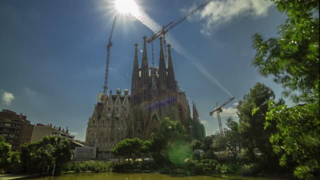 Panoramic timelapse of Sagrada Familia by Gaudi, Barcelona, Spain.