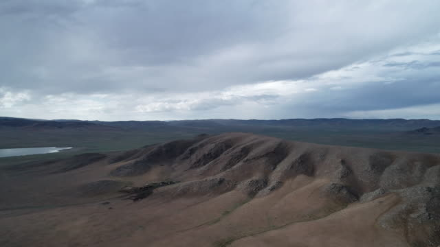 Panoramic view from above to Talmen-Nuur Lake, Numregh - Somon aimak in western part of Mongolia
