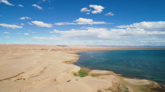 stockvideo's en b-roll-footage met panoramic view from above to the saline lake durgen nuur - steppe