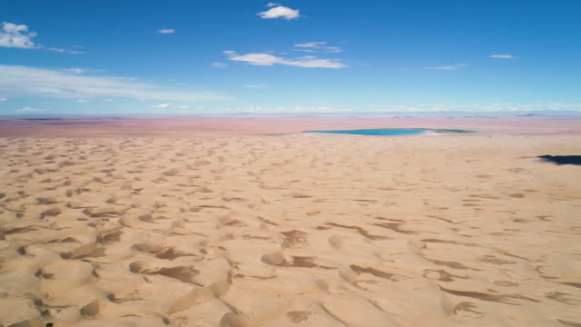 panoramic view from above to the saline lake durgen nuur - mongolia video stock e b–roll
