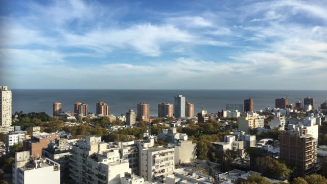 panoramic view from descending elevator - montevideo stock videos & royalty-free footage
