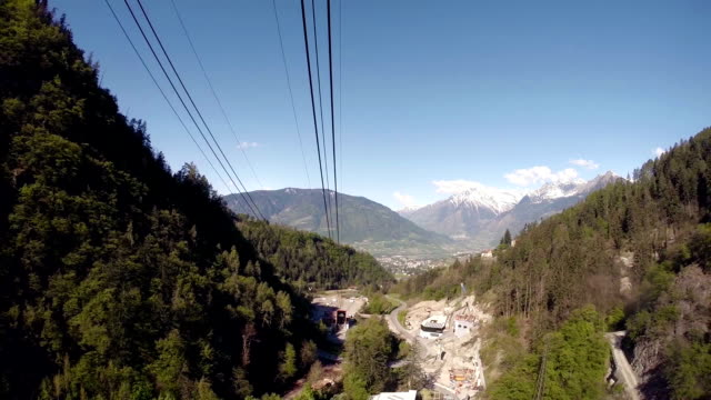 stockvideo's en b-roll-footage met panoramic view from overhead cable car - pjphoto69