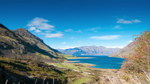 panoramic view nature landscape in queen town remarkable and arrowtown south island new zealand - queenstown stock videos & royalty-free footage