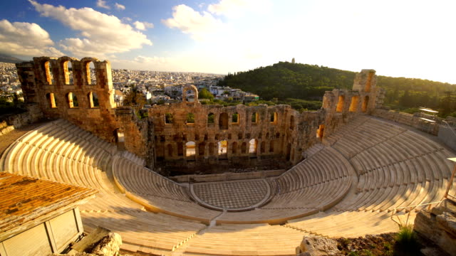 panoramic view of acropolis of athens, greece - old ruin stock videos & royalty-free footage