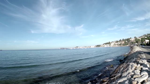 panoramic view of beach in sanary sur mer - pjphoto69 stock videos & royalty-free footage