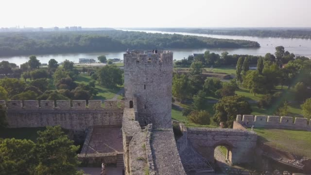 panoramic view of belgrade fortress over old tower - serbia stock videos & royalty-free footage