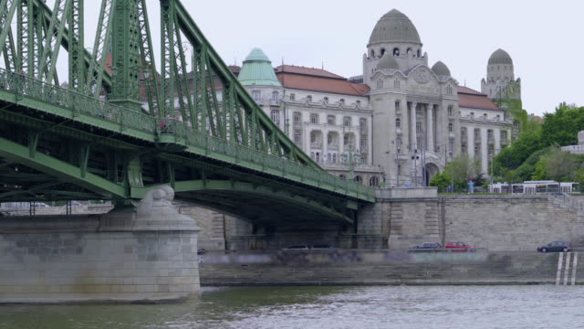 panoramic view of budapest from  the danube river - eastern european culture stock videos and b-roll footage