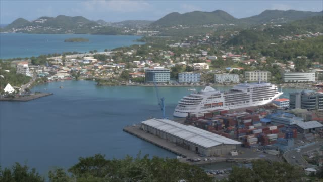 panoramic view of castries from above the city, castries, st. lucia, windward islands, west indies, caribbean, central america - st. lucia stock videos & royalty-free footage