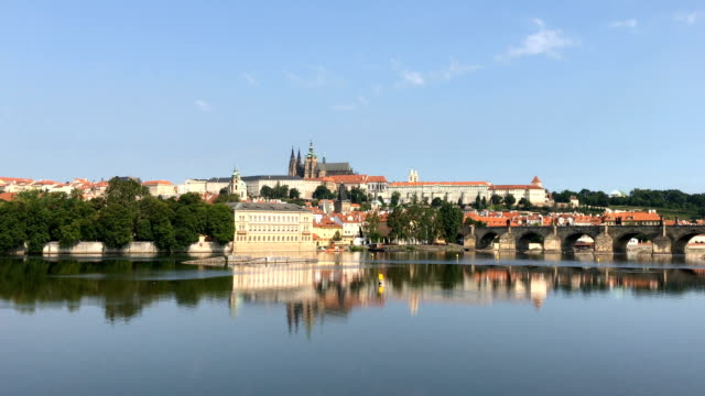Panoramic view of Charles Bridge in Prague