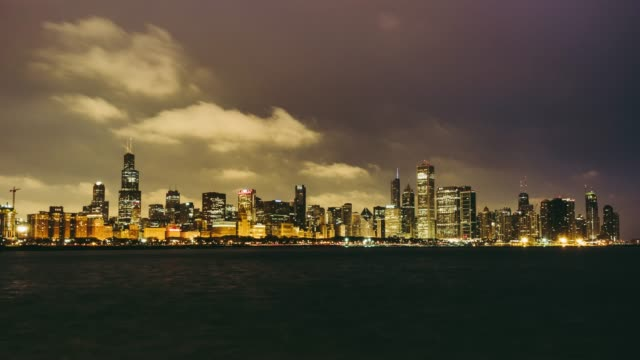 T/L WS Panoramic View of Chicago at Dawn, Night to Day Transition / Illinois, US