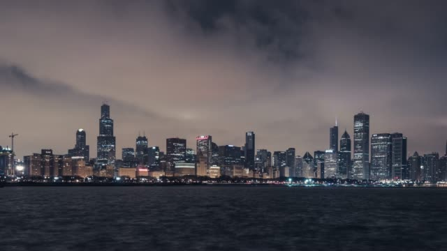 T/L WS PAN Panoramic View of Chicago at Night