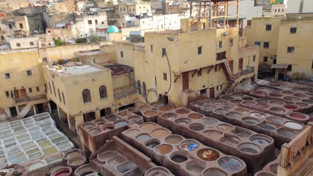 panoramic view of chouara tannery in fes - morocco - pjphoto69 stock videos & royalty-free footage