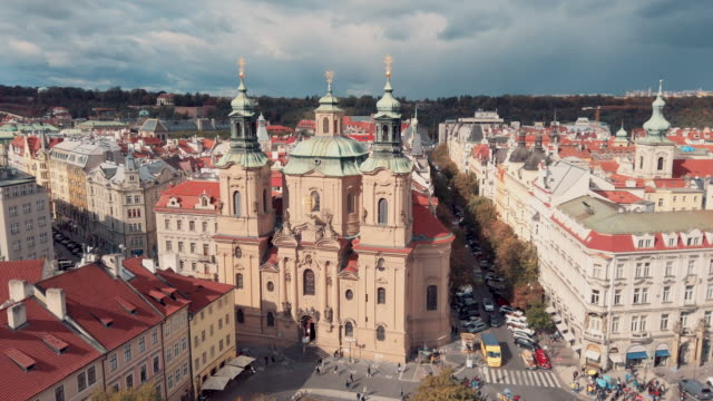 panoramic view of church of our lady before týn in old town hall tower in prague - prague town hall stock videos & royalty-free footage